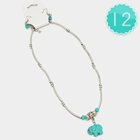 12 PCS - Turquoise elephant pendant necklaces