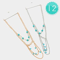 12 PCS - Multi-layer turquoise bead bib necklaces