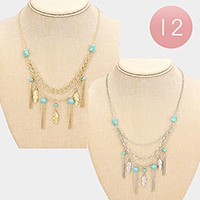 12 PCS - Metal chain tassel & feather turquoise bib necklaces