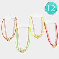12 PCS - Metal bead accented neon chain necklaces
