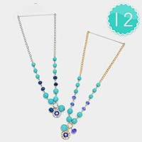 12 PCS - Crystal trim evil eye pendant beaded necklaces