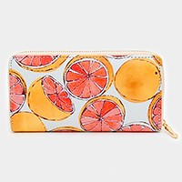 Grapefruit print zip around wallet