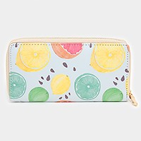 Lemon print zip around wallet
