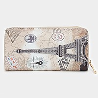 Paris Eiffel tower zip around wallet