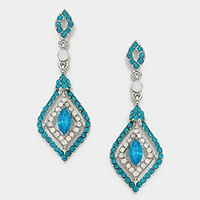 Marquise Accented Crystal Rhinestone Evening Earrings