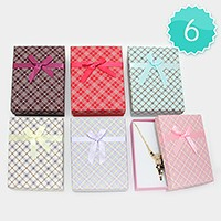 6 PCS - Ribbon deco hard jewelry gift boxes