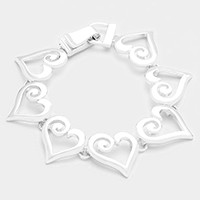 Metal heart link magnetic bracelet