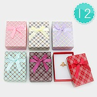 12 PCS - Ribbon deco hard jewelry gift boxes