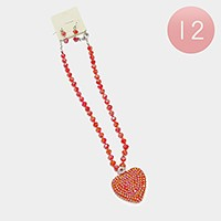 12 PCS - Crystal disco ball shamballa heart pendant necklaces