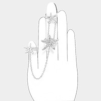 Crystal detail triple starfish metal chain joint connect finger ring