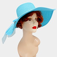 Wide brim paper straw floppy sun hat with metal chain ribbon