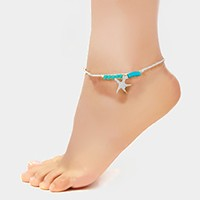 Metal starfish charm natural stone anklet