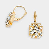 Geometric crystal pave earrings