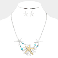 Metal Starfish Coral Statement Necklace