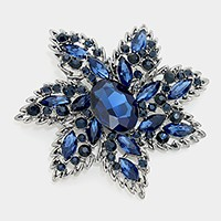 Crystal Glass Flower Pin Brooch
