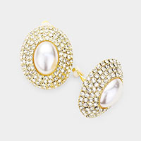 Oval Crystal Pearl Clip On Earrings