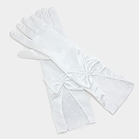 Bridal wedding bow detail satin lace gloves
