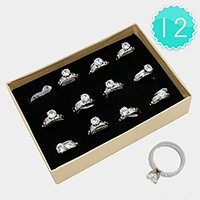 12 PCS - Crystal accented stainless steel rings