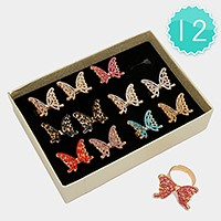 12 PCS - Crystal butterfly rings