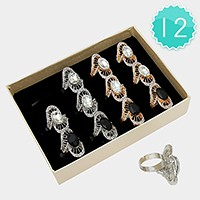 12 PCS - Oval crystal accented cocktail rings