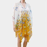 Ombre Butterfly Button Poncho
