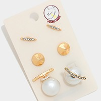 3 Pairs - Double sided pearl crystal earrings