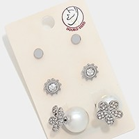 3 Pairs - Double sided pearl crystal flower earrings