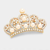 Pave pearl crown brooch