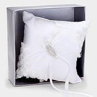 Crystal leaf accented flower lace wedding ring bearer pillow
