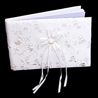 Embroidered flower lace wedding guest book