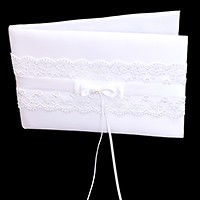 Lace & Satin bow wedding guest book