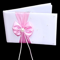 Satin bow & pearl wedding guest book