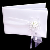 Flower bow accented satin wedding guest book