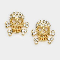 Crystal accented day of the dead stud earrings
