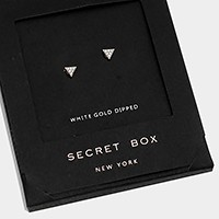 White gold dipped crystal triangle stud earrings with secret box