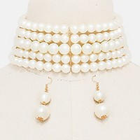 Wide multi-row pearl choker necklace