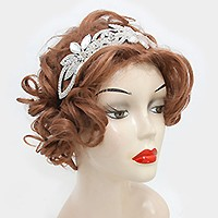 Felt back crystal rhinestone flower stretch headband