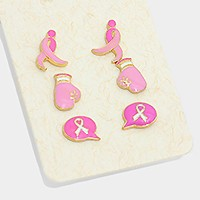 3 Pairs - enamel pink ribbon symbol & fight glove stud earrings