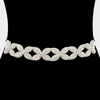 Crystal rhinestone sash ribbon bridal wedding belt