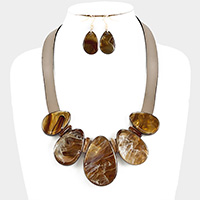 Celluloid shell faux leather necklace