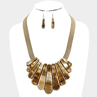 Celluloid shell bib faux leather necklace