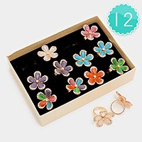 12 PCS - crystal trim shimmery stone flower rings