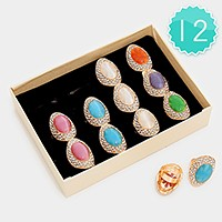 12 PCS - crystal trim oval shimmery stone rings