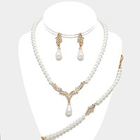 3-PCS Crystal art deco pearl strand necklace jewelry set