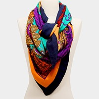 Paisley pattern border square scarf
