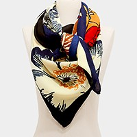 Flower & butterfly border square scarf