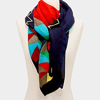 Geometric pattern border square scarf