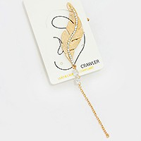 Crystal detail metal feather ear crawler earring