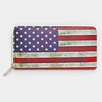 Vintage American flag zip around wallet