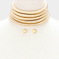 Multi-row metallic choker necklace